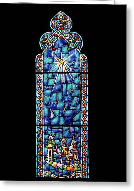 1960s Stained Glass Window Design Greeting Card