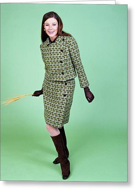 1960s Young Woman Modeling Green Wool Greeting Card