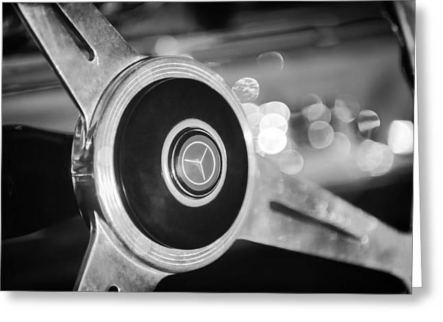 1961 Mercedes Benz 300sl Roadster Steering Wheel Emblem Greeting Card