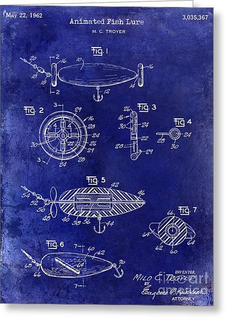 1962 Animated Fish Lure Blue Greeting Card by Jon Neidert