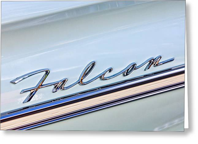 1963 Ford Falcon Futura Convertible  Emblem Greeting Card by Jill Reger
