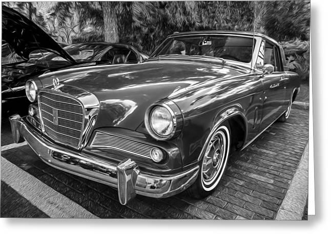 1964 Studebaker Golden Hawk Gt Bw  Greeting Card by Rich Franco