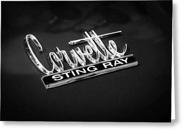 1966 Chevrolet Corvette Coupe Emblem  Bw Greeting Card by Rich Franco