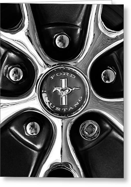 1966 Ford Mustang Gt Wheel Emblem Greeting Card by Jill Reger