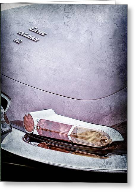 1967 Jaguar E-type 4.2 Liter Series 1 Roadster Taillight Emblem Greeting Card by Jill Reger