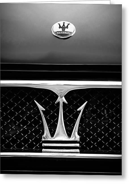 1967 Maserati Ghibli Grille Emblem Greeting Card by Jill Reger