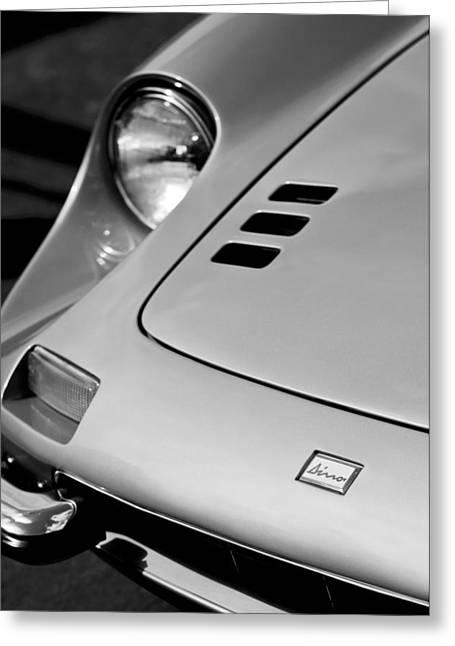 1973 Ferrari 246 Dino Gts Hood Emblem Greeting Card by Jill Reger