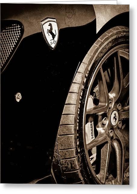 2011 Ferrari 599 Gto Emblem - Wheel Greeting Card by Jill Reger