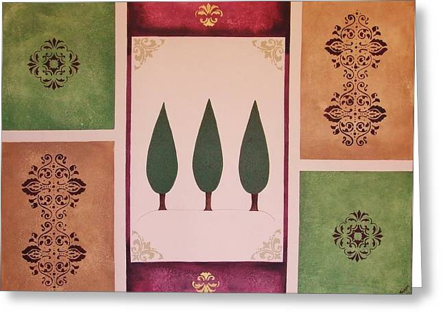 Greeting Card featuring the painting 3 Cypress by Cindy Micklos