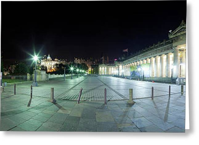 360 Degree View Of A City At Night Greeting Card by Panoramic Images