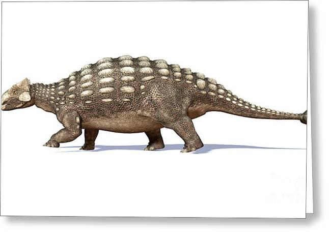 3d Rendering Of An Ankylosaurus Greeting Card by Leonello Calvetti