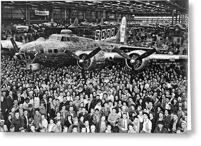 5,000th Boeing B-17 Built Greeting Card by Underwood Archives