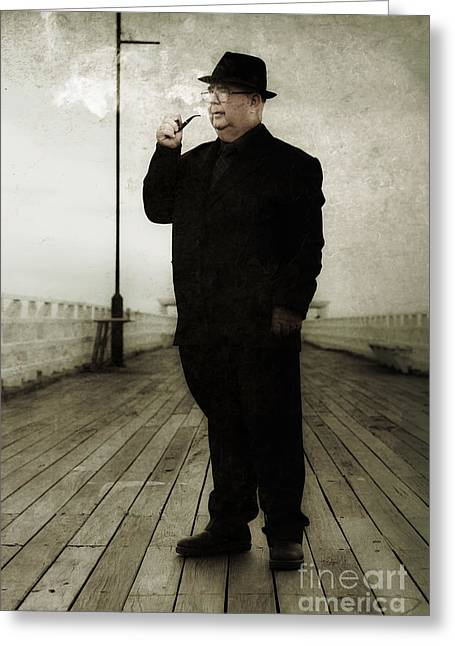 50s Detective Smoking Pipe Greeting Card by Jorgo Photography - Wall Art Gallery
