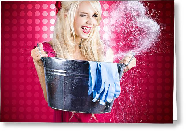 60s Retro Cleaning Lady With Metal Water Bucket Greeting Card by Jorgo Photography - Wall Art Gallery