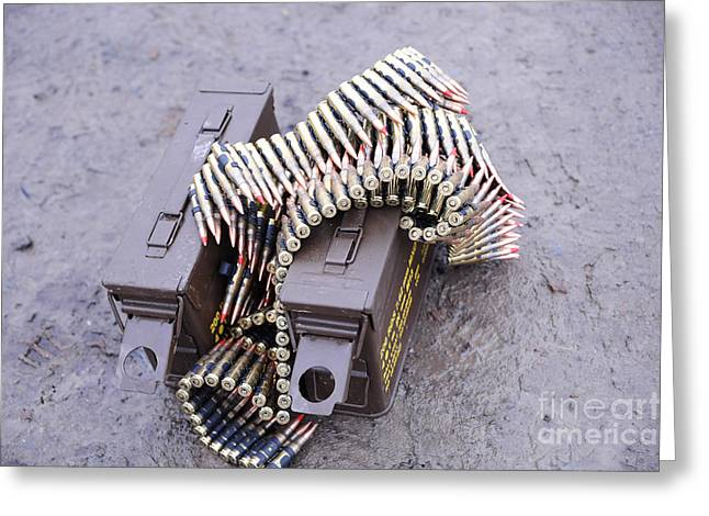 7.62mm Belted Rounds With Ammunition Greeting Card by Andrew Chittock