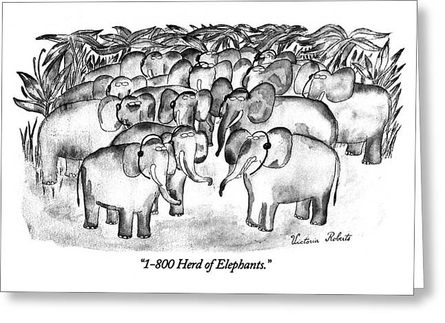1-800 Herd Of Elephants Greeting Card