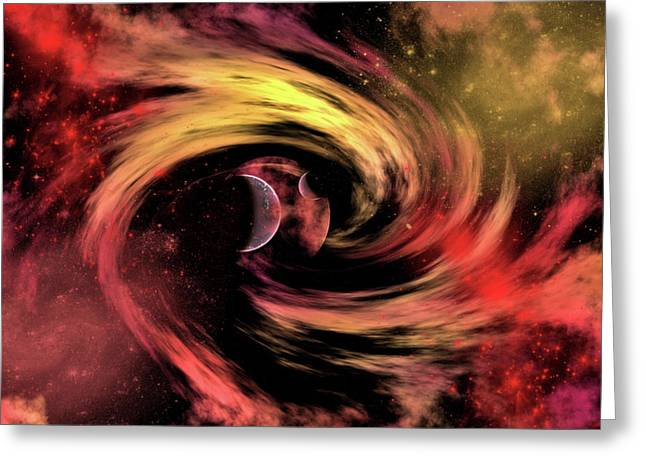 A Black Hole Pulling In Planets Greeting Card