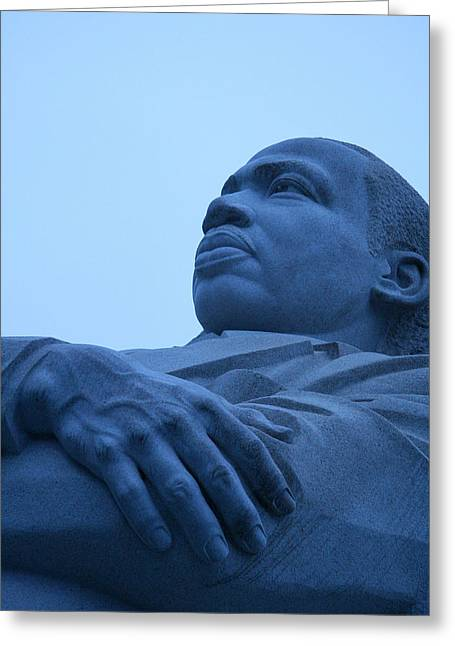 Greeting Card featuring the photograph A Blue Martin Luther King - 1 by Cora Wandel