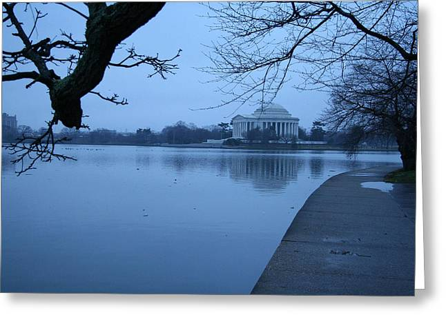 Greeting Card featuring the photograph A Blue Morning For Jefferson by Cora Wandel