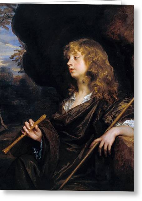 A Boy As A Shepherd Greeting Card by Peter Lely