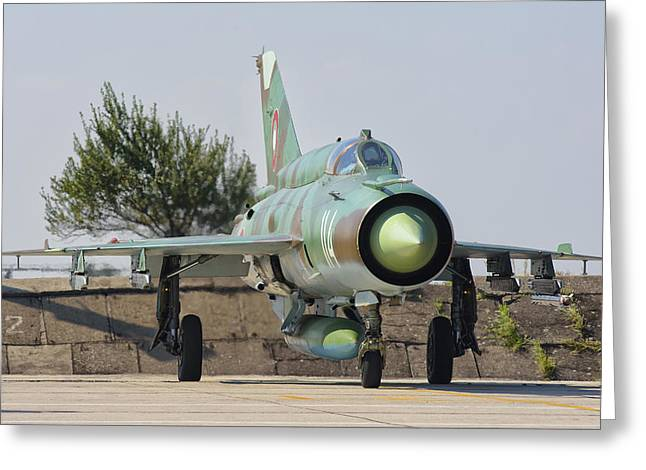 A Bulgarian Air Force Mig-21 Greeting Card by Giovanni Colla