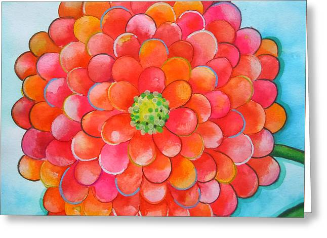 A Burst Of Zinnia Greeting Card by Roleen  Senic