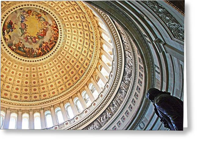 Greeting Card featuring the photograph A Capitol Rotunda by Cora Wandel