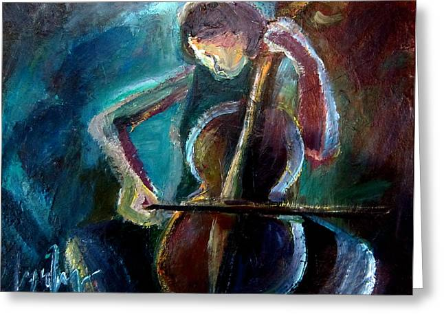 A Cellist Greeting Card by Lynn Huong Nguyen