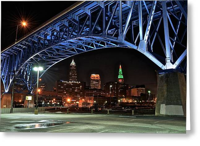 A Cleveland Night Greeting Card by Frozen in Time Fine Art Photography
