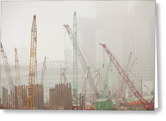 A Construction Site In Hong Kong Greeting Card by Ashley Cooper