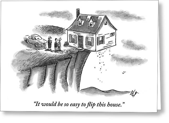 A Couple And A Real Estate Representative Stand Greeting Card