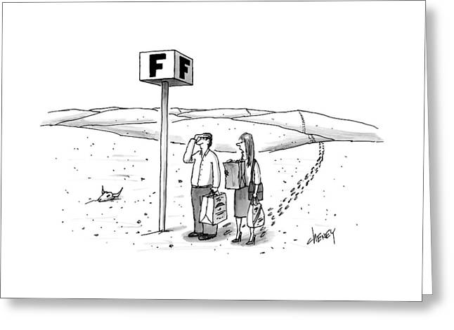 A Couple Search For Their Car At A Parking Lot Greeting Card