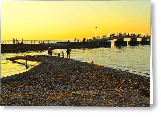 A Day At The Beach Greeting Card by Frozen in Time Fine Art Photography