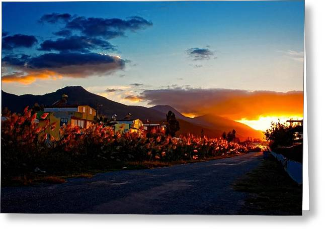 A Digitally Constructed Painting Of An Empty Country Lane At Sunset Greeting Card