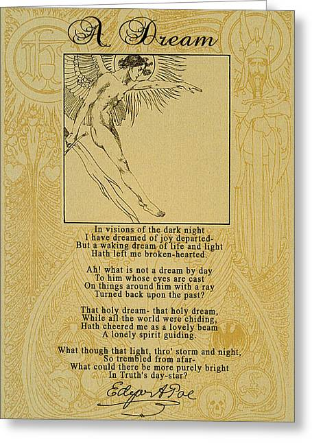 A Dream By Edgar Allan Poe Greeting Card by Scarebaby Design