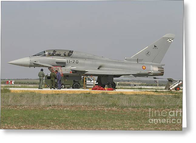 A Eurofighter Typhoon Of The Spanish Greeting Card by Timm Ziegenthaler