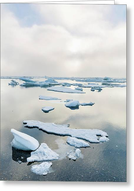 A Foggy Sunset Over The Arctic Ocean Greeting Card by Kevin Smith