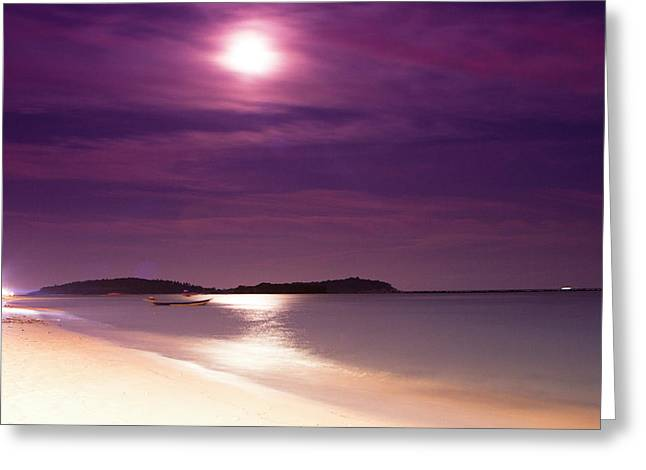 A Full Moon Sunset On Ko Samui, Thailand Greeting Card by Micah Wright