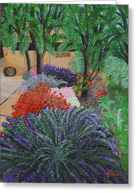 A Garden To Remember Greeting Card by Donna  Manaraze