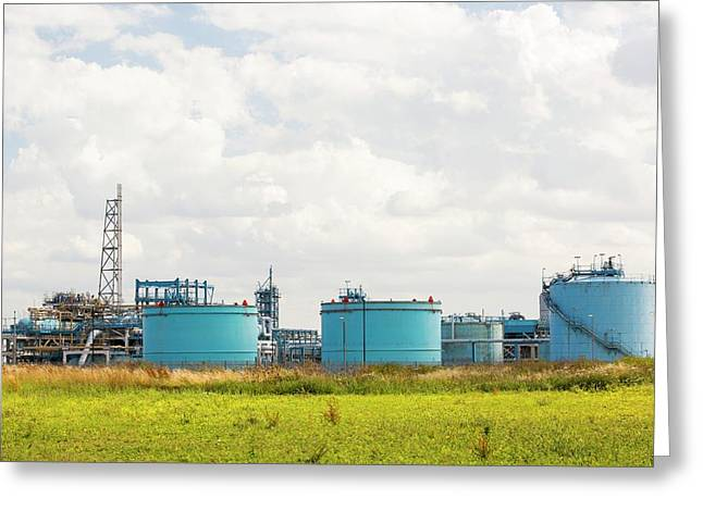 A Gas Plant Receiving North Sea Gas Greeting Card by Ashley Cooper