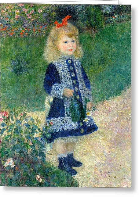 A Girl With A Watering Can Greeting Card by Pierre-Auguste Renoir