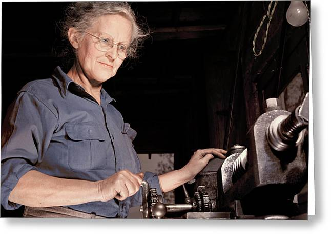 A Grandmother Cutting Gears Greeting Card