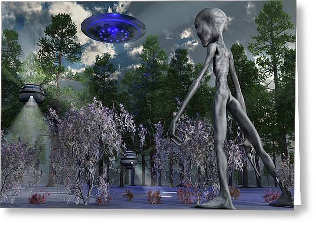 A Grey Alien Researcher Exploring Greeting Card