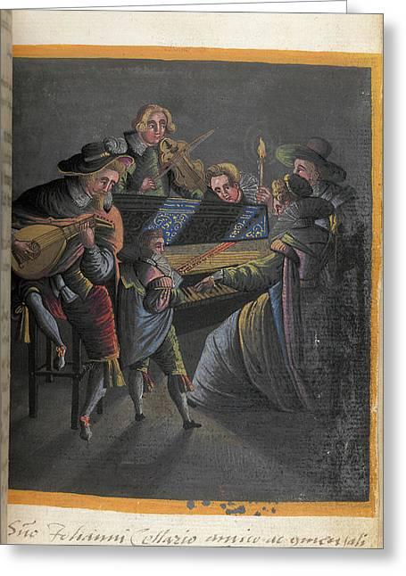 A Group Of Musicians Greeting Card by British Library