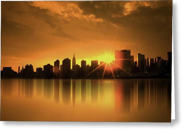 A Manhattan Sunset Greeting Card by Nina Bradica