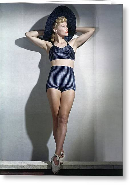 A Model Wearing A Bathing Suit Greeting Card by Horst P. Horst