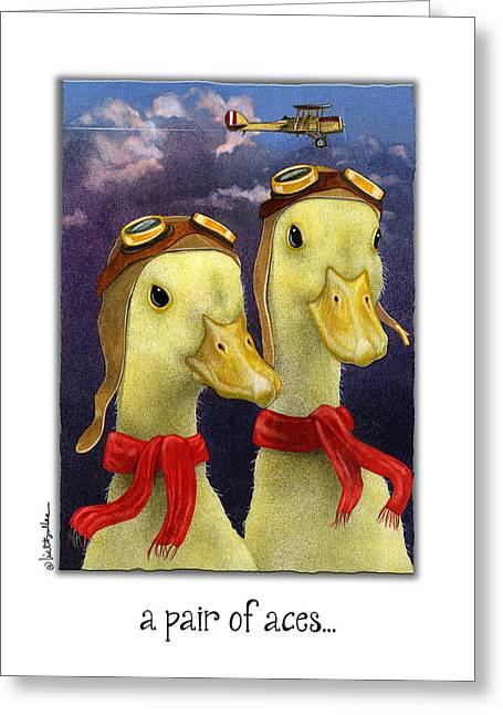A Pair Of Aces... Greeting Card by Will Bullas