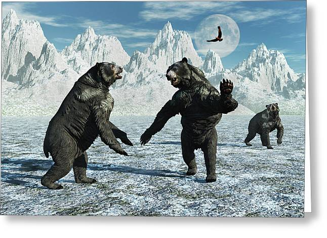 A Pair Of Arctodus Bears Greeting Card by Mark Stevenson