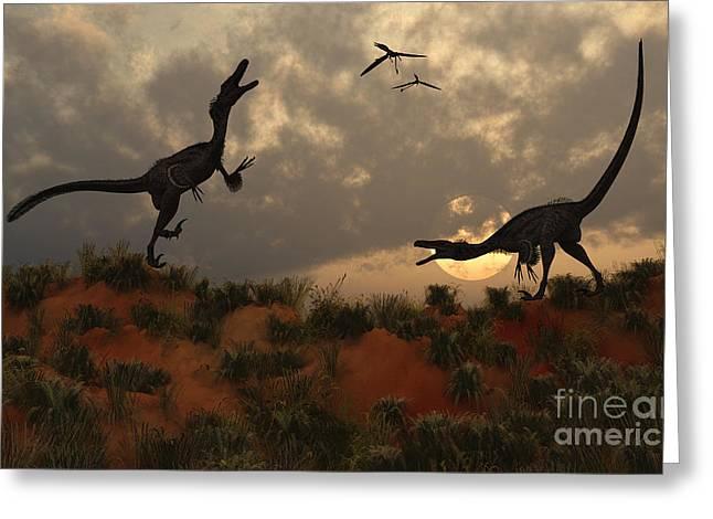 A Pair Of Velociraptors Involved Greeting Card by Mark Stevenson