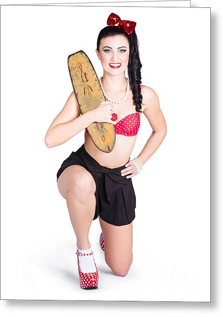 A Pin Up Girl Holding A Little Wooden Skateboard Greeting Card by Jorgo Photography - Wall Art Gallery